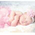 Newborn girl in pink tutu watercolor by Mike Theuer