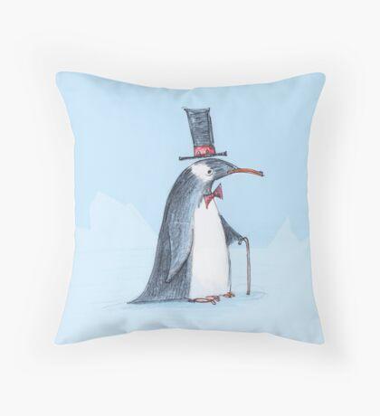 The dapper penguin Throw Pillow