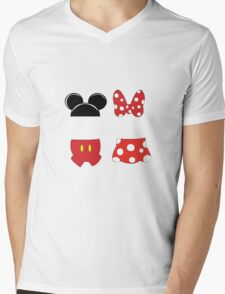 Mickey and Minnie Icons Mens V-Neck T-Shirt