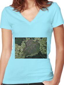 Dying oil leaf.  Women's Fitted V-Neck T-Shirt