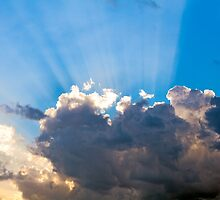 Clouds In The Blue Sky and Sun Rays by moonbloom