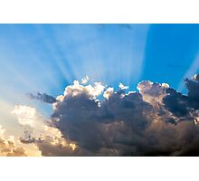 Clouds In The Blue Sky and Sun Rays Photographic Print