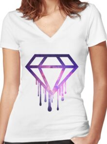 Dripping Diamond  Women's Fitted V-Neck T-Shirt