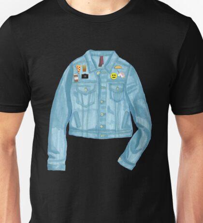 Jean Jacket with Enamel Pins Unisex T-Shirt