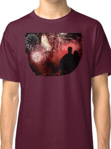lovers and Fireworks in Midnight Sky  Classic T-Shirt