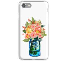 Mason jar watercolor flowers iPhone Case/Skin