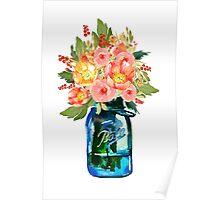 Mason jar watercolor flowers Poster