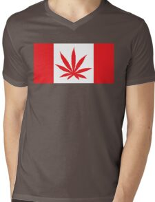 Canadian Flag Marijuana Leaf Mens V-Neck T-Shirt