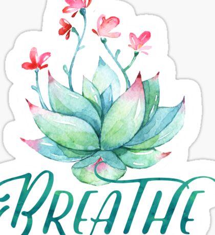 Watercolor succulent breathe yoga Sticker