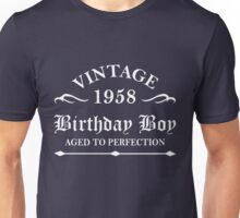 Vintage 1958 Birthday Boy Aged To Perfection Unisex T-Shirt