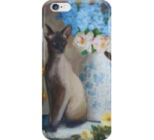 Siamese Cat with Flowers iPhone Case/Skin