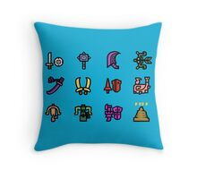 Monster Hunter Weapon Icons Throw Pillow