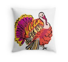 Multi colored graphic turkey Throw Pillow