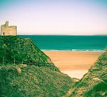 green fenced path to Ballybunion beach by morrbyte