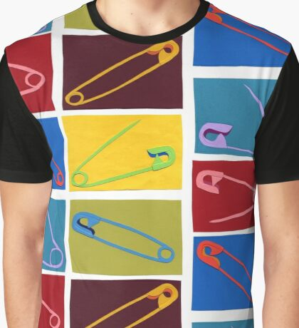 6 multi-colored safety pin Graphic T-Shirt