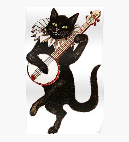 Vintage Cat Playing Banjo Poster
