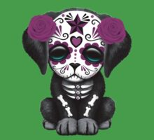 Cute Purple Day of the Dead Puppy Dog Blue Kids Clothes