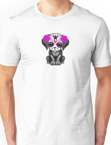 Cute Purple Day of the Dead Puppy Dog Blue Unisex T-Shirt