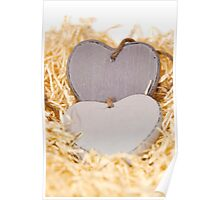 grey wooden love hearts with copy space Poster