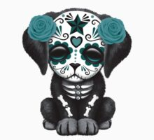 Cute Teal Blue Day of the Dead Puppy Dog Pink T-Shirt