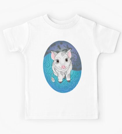 White and Grey Piglet with Shell background  Kids Tee