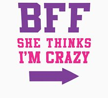 BFF She Thinks Im Crazy 1/2, Purple and Pink Ink | Bff Matching T Shirts for Women Tank Top
