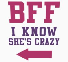 BFF I Know She's Crazy 2/2, Purple and Pink Ink | Bff Matching T Shirts for Women by Tradecraft Apparel