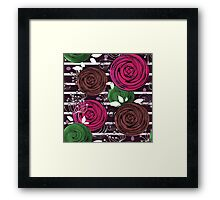 Abstract rose flower on a black background. Framed Print