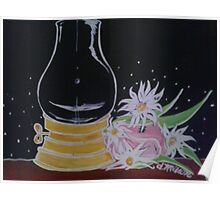 Lamp and Flowers Poster