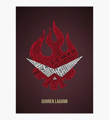 Gurren Lagann typography Photographic Print