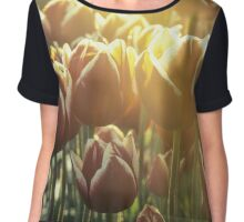 Red tulips in early morning - faded Chiffon Top