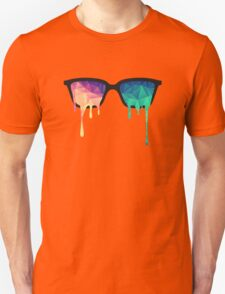 Psychedelic Nerd Glasses with Melting LSD/Trippy Color Triangles T-Shirt