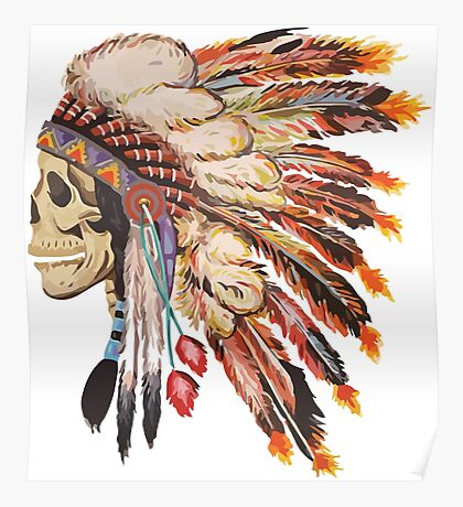 Feather Skull Poster