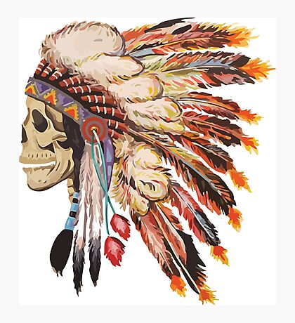 Feather Skull Photographic Print