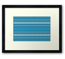 Winter Geometric Ornament Background in Blue and White from Knitted Fabric Framed Print