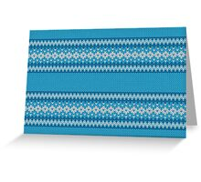 Winter Geometric Ornament Background in Blue and White from Knitted Fabric Greeting Card