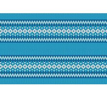 Winter Geometric Ornament Background in Blue and White from Knitted Fabric Photographic Print