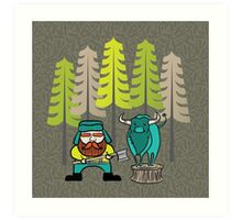 Lumberjack Attack: Paul and Babe Art Print