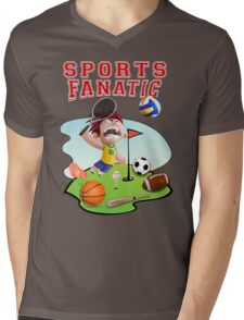Funny Crazy Colorful Sports Fanatic Meme T-Shirt Mens V-Neck T-Shirt