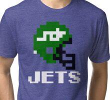Tecmo Bowl, Tecmo Super Bowl, Tecmo Bowl Shirt, Tecmo Bowl T-shirt, Tecmo Bowl Helmet, NYJ Helmet, NYJ Tri-blend T-Shirt