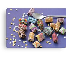 A Spoon of Gingerbread Houses Canvas Print