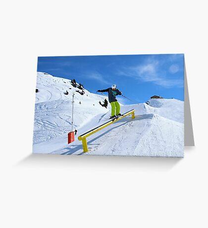 Skiing rail  Greeting Card