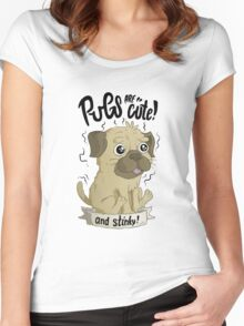 Pugs are cute Women's Fitted Scoop T-Shirt
