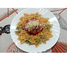 Tricolor Farfalle With Tomato Sauce Photographic Print