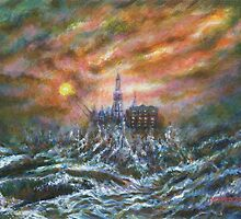 Oil rig in stormy sea by Marion Yeo