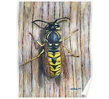 Acrylic painting, Wasp nature art Poster