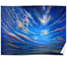 Acrylic painting, Blue, purple and orange sunset art Poster