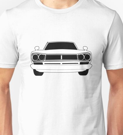 Original C10 Datsun / Nissan GTR in Black & White   Stickers and Tees  Unisex T-Shirt