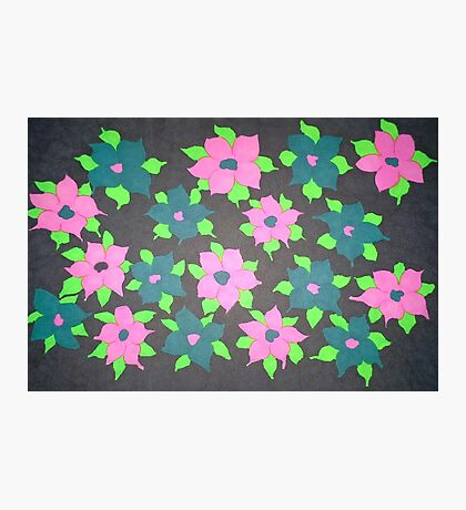 Bold Flowers in Pink and Blue Photographic Print