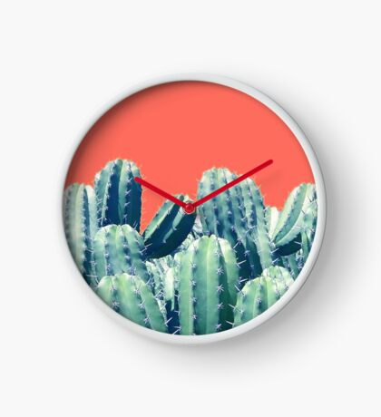 Cactus on Coral #redbubble #lifestyle Clock
